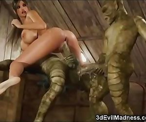 3D Busty Woman Wrecked by..