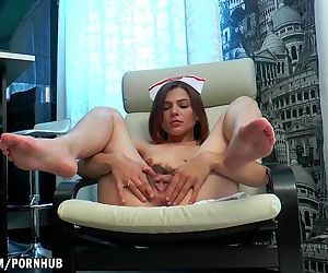 Erika massages her hairy..